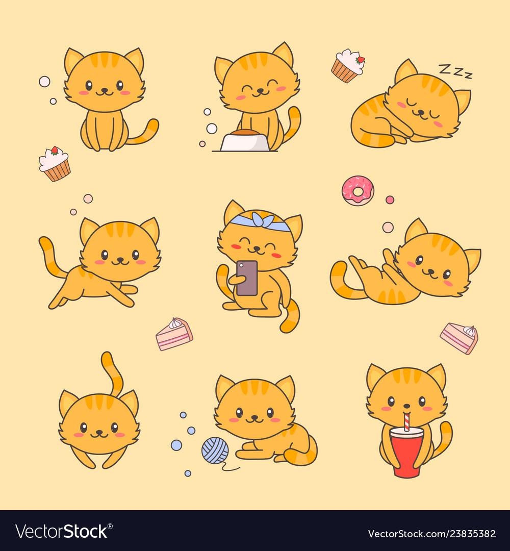 Cute kitten kawaii character sticker set cat