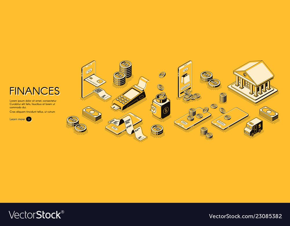 Finances isometric horizontal web banner
