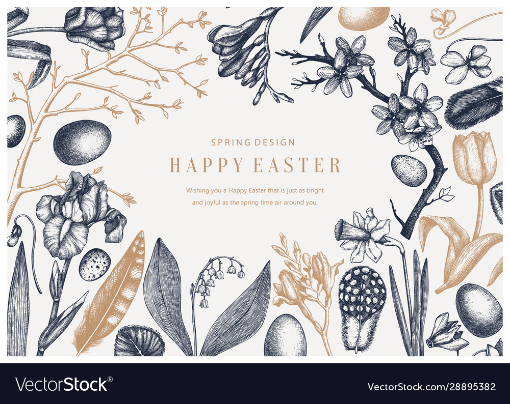 Happy easter day design spring banner greeting