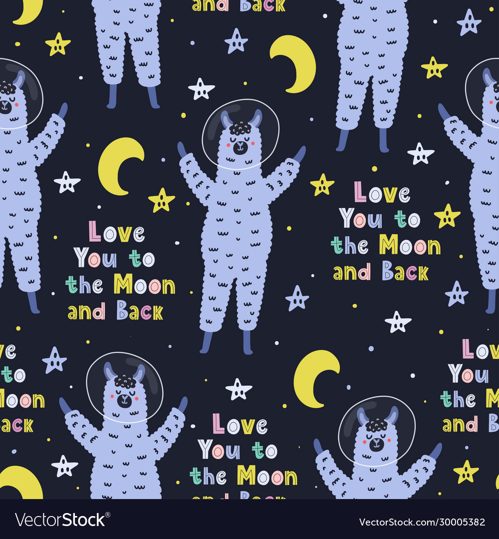 I love you to moon and back seamless pattern