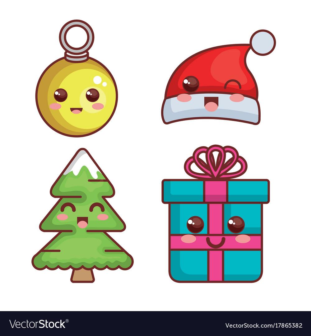 Kawaii Christmas.Merry Christmas Kawaii Characters