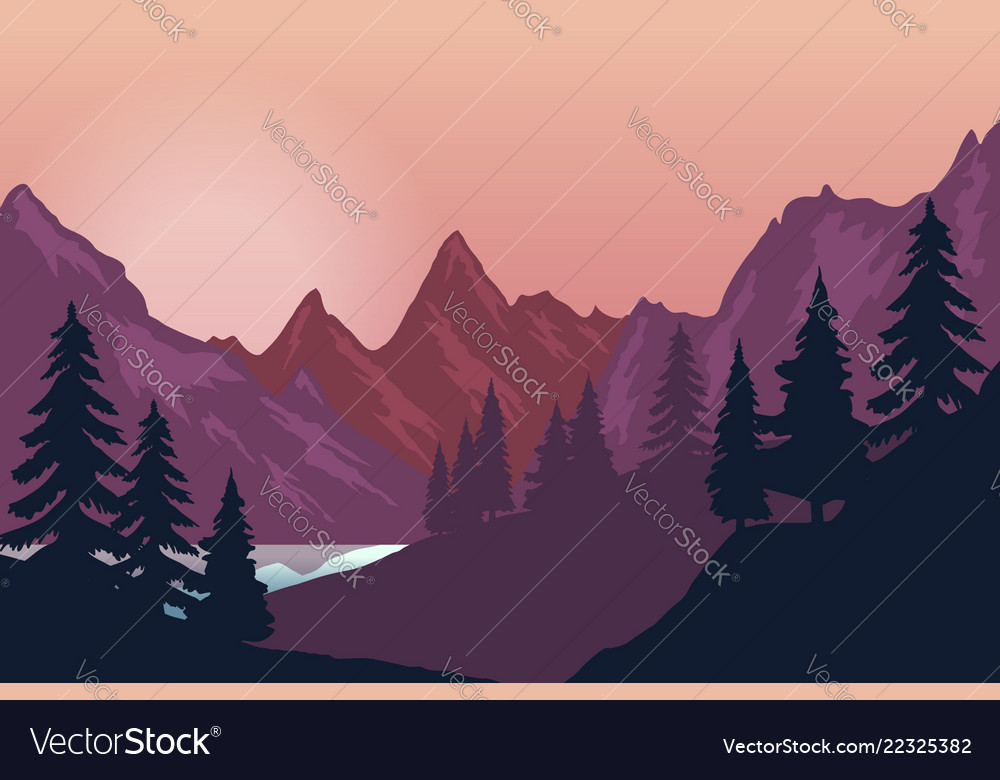 Mountain landscape in flat style design element