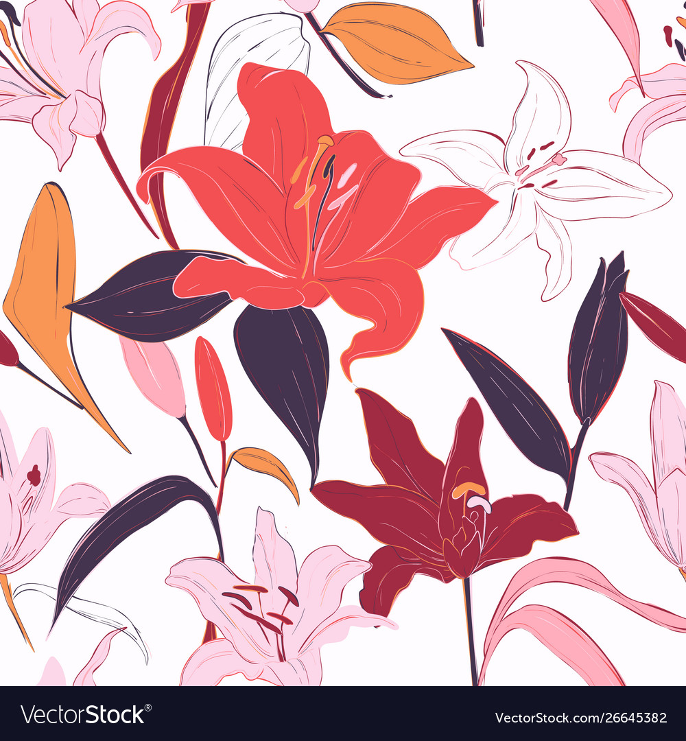 Red lilies hand-drawn background summer flowers