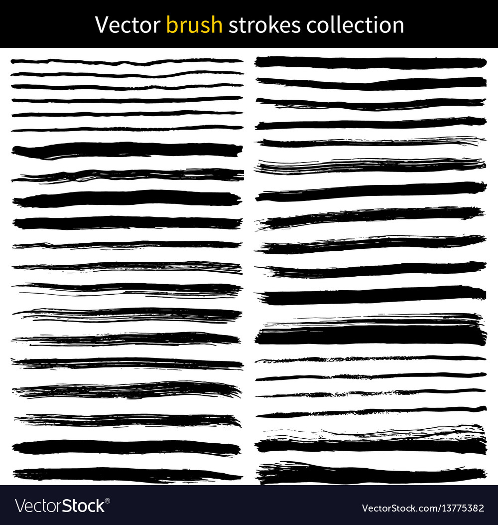 Set of grunge brush strokes vector image