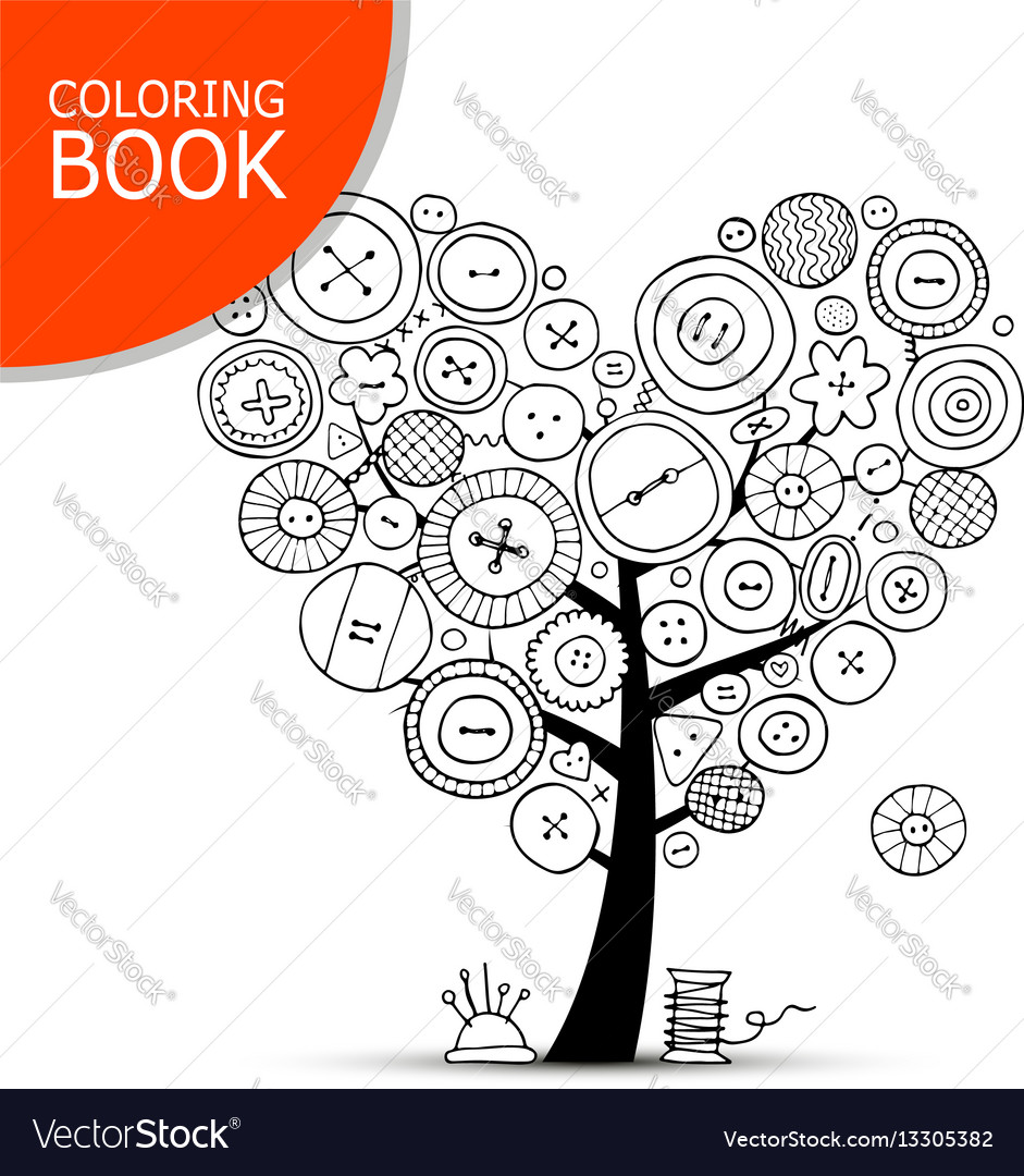 Sewing Tree With Buttons Coloring Book Page Vector Image