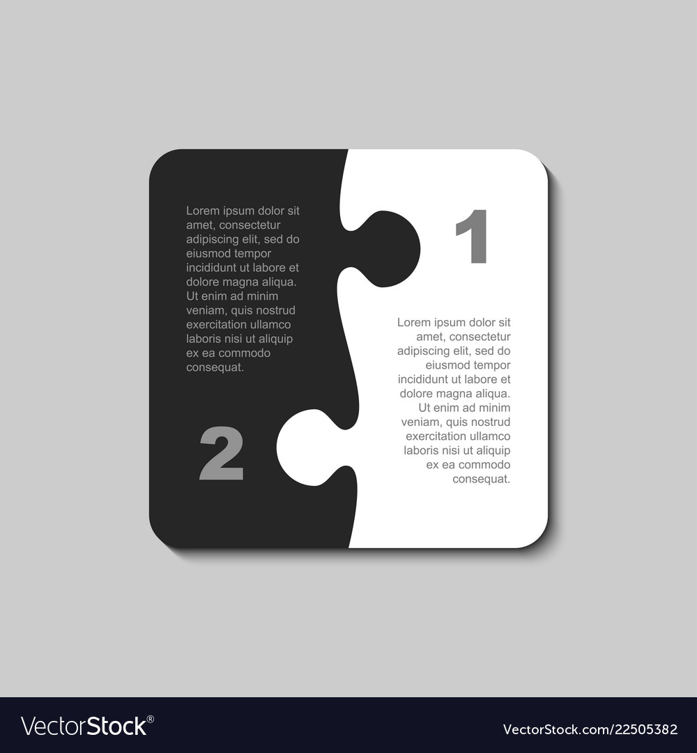 The pieces puzzle infographics two steps square