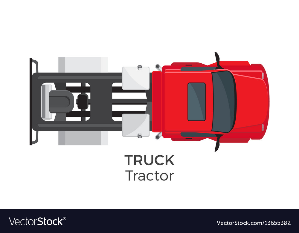 Tractor truck top view flat icon