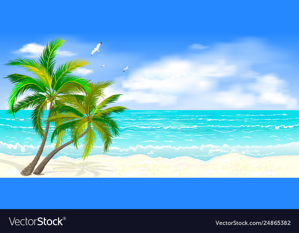 Tropical seascape with palm trees