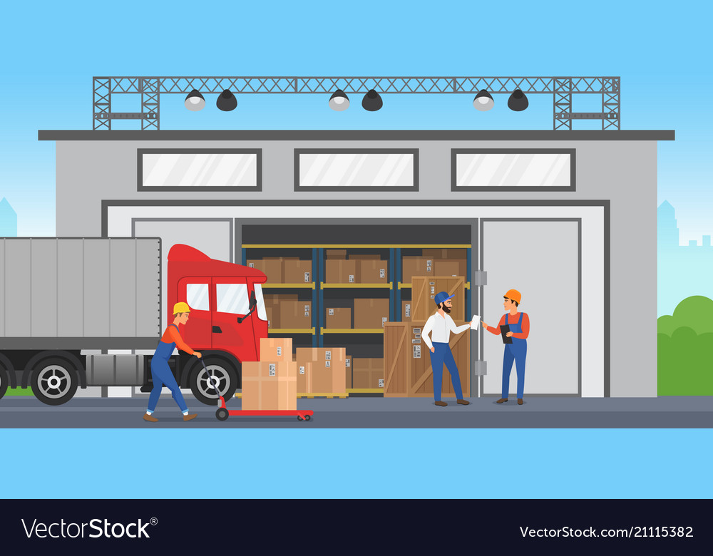 Warehouse workers are arranging goods on