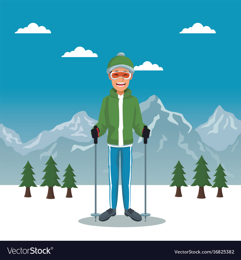 Winter mountain landscape poster with scaler guy