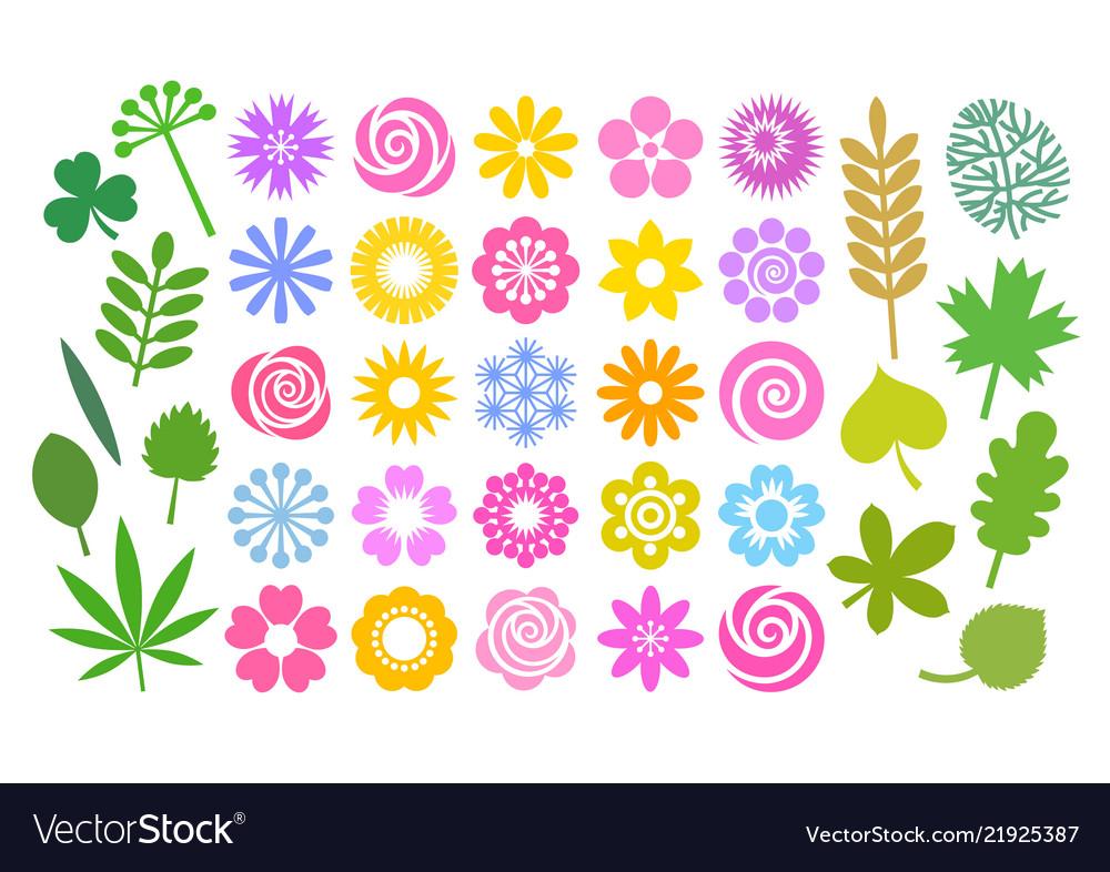 Big set flowers and leaves in simple cartoon