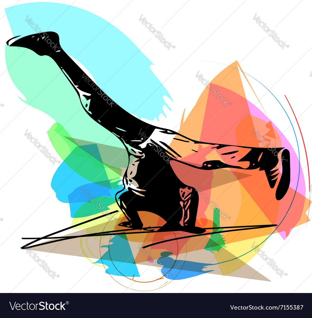 Breakdancer performing a handstand