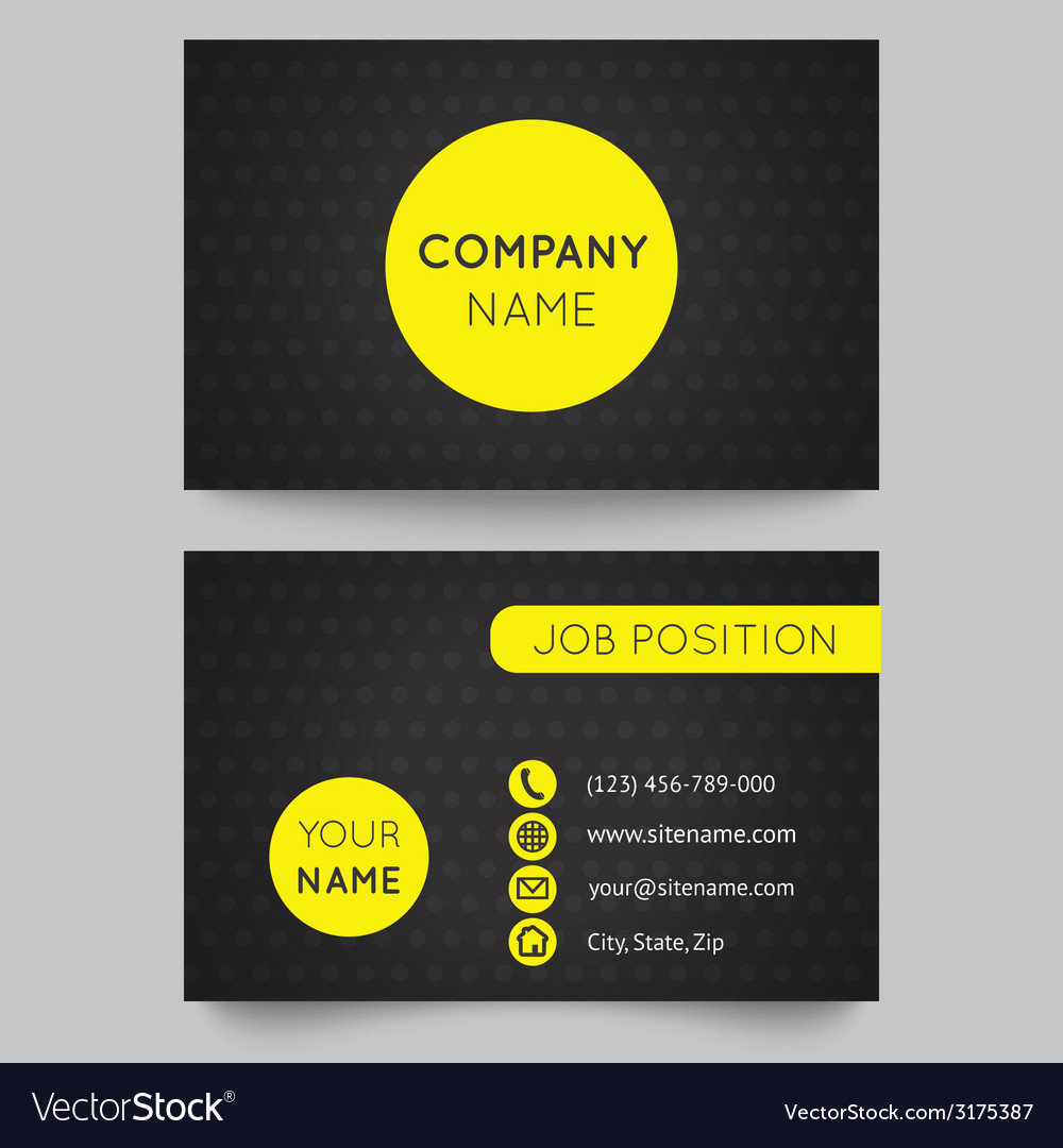 Business card template yellow and black pattern