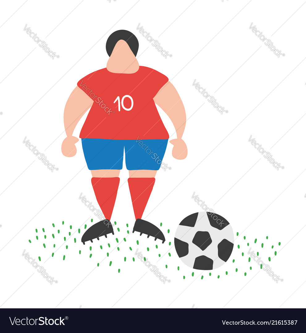 Cartoon soccer player man standing with soccer