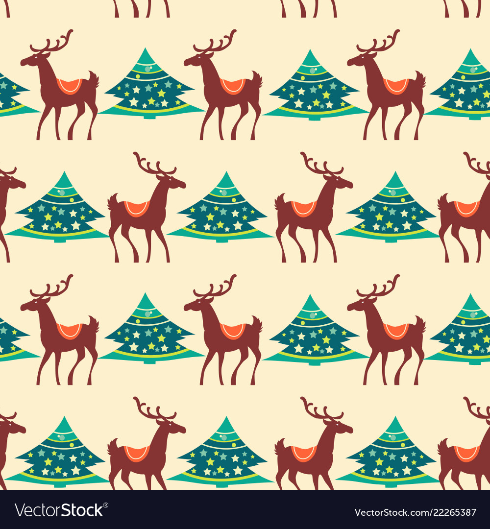 Christmas seamless pattern deer and pine tree