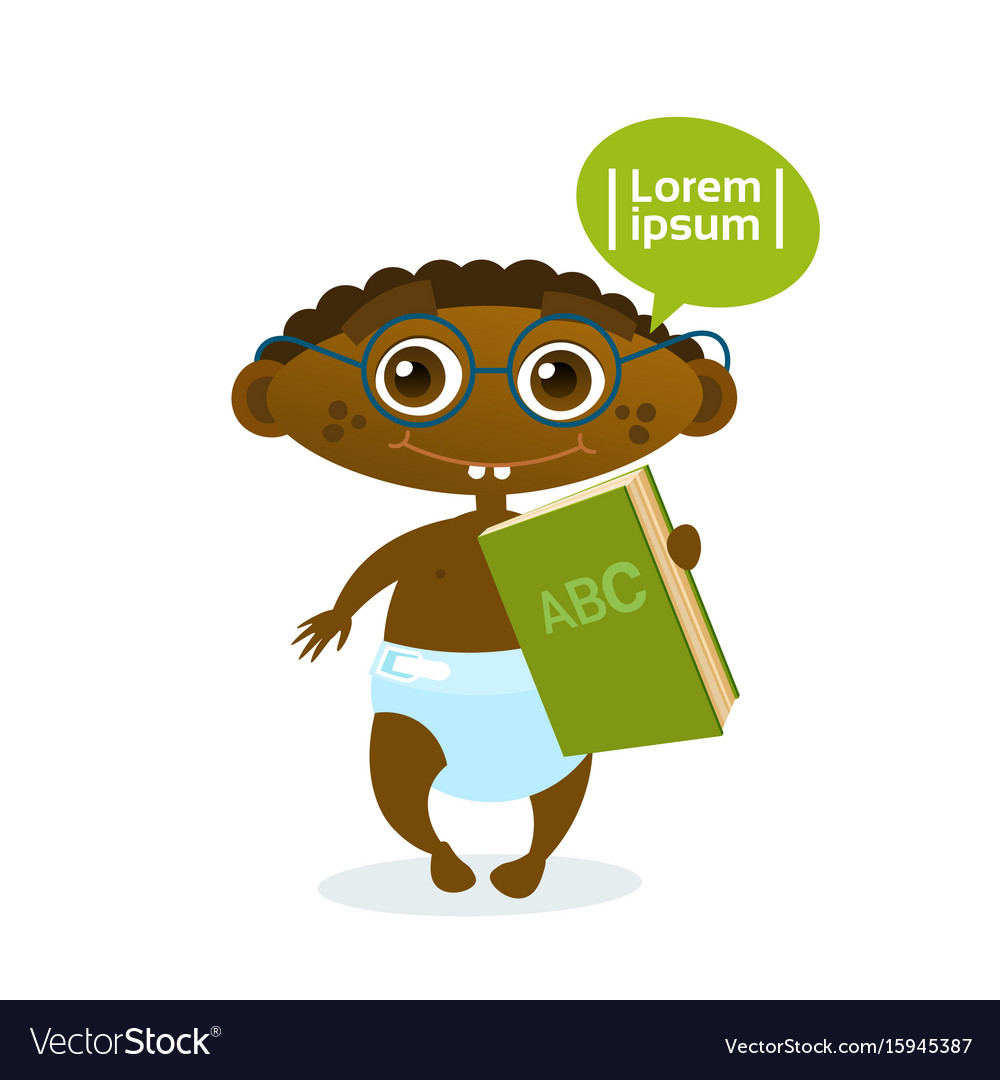 Cute african american baby boy holding book