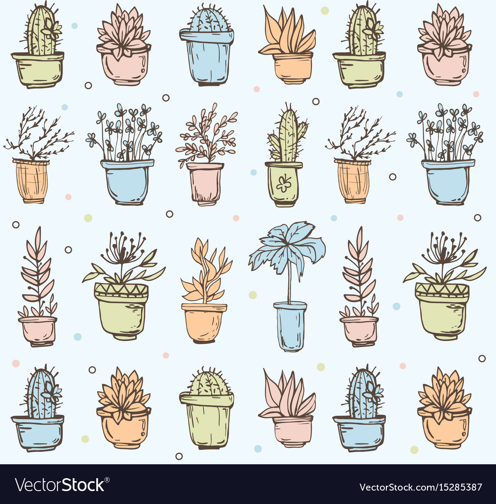 Cute hand drawn seamless pattern with cactus