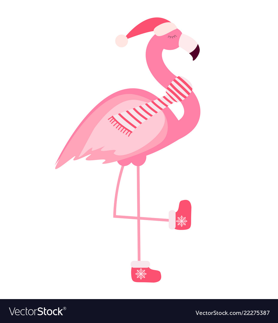 cute pink flamingo new year and christmas vector image