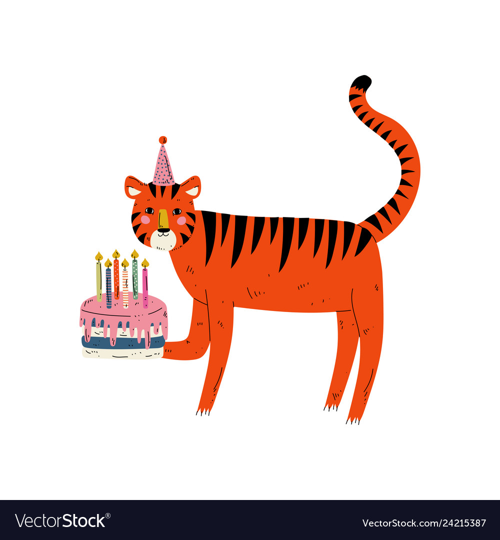 Surprising Cute Tiger Wearing Party Hat With Birthday Cake Vector Image Personalised Birthday Cards Paralily Jamesorg