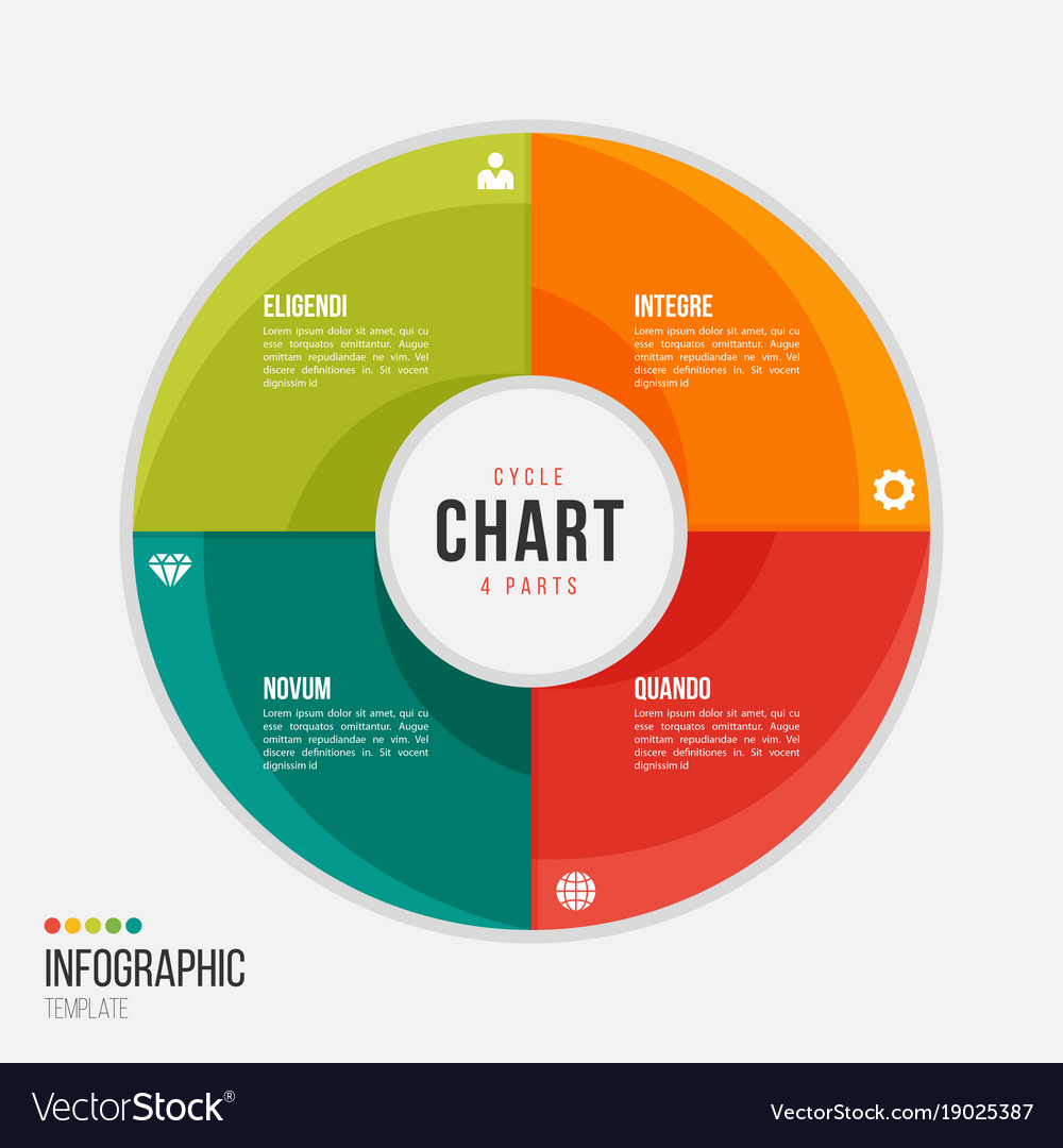 Cycle Chart Infographic Template With 4 Parts Vector Image