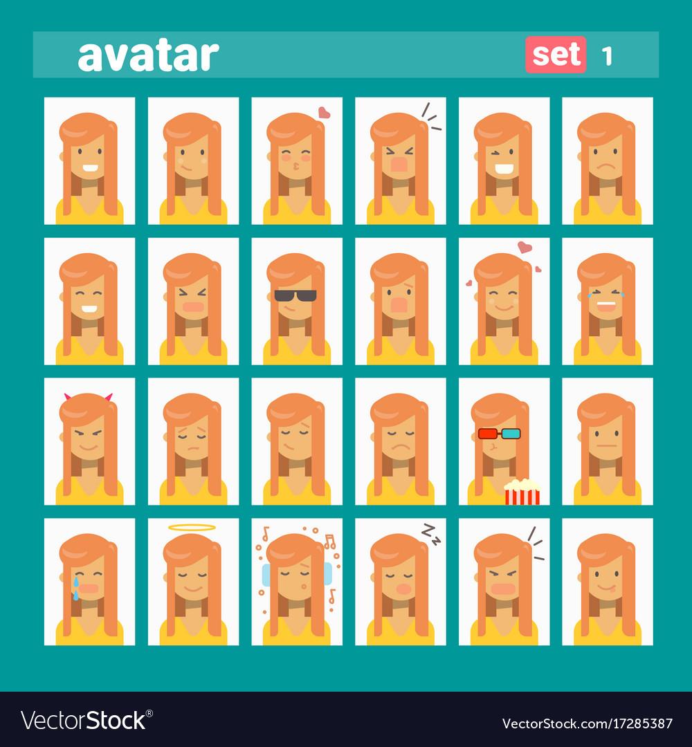 Female different emotion set profile icon woman