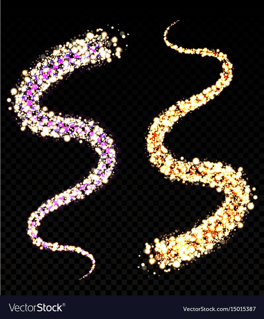 Golden sparkling dust glowing translucent waves vector image