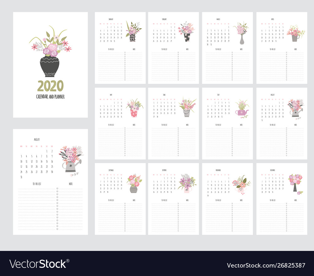 Hand Draw Calendar 2020 And Planner With Garden Vector Image