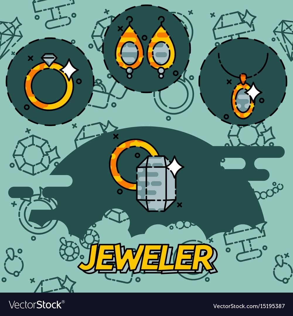 Jeweler flat icons set