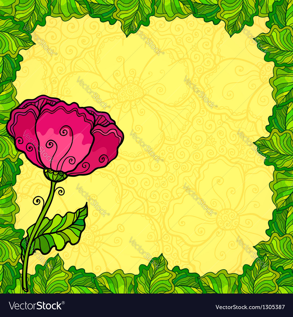 Poppy flowers greeting card template