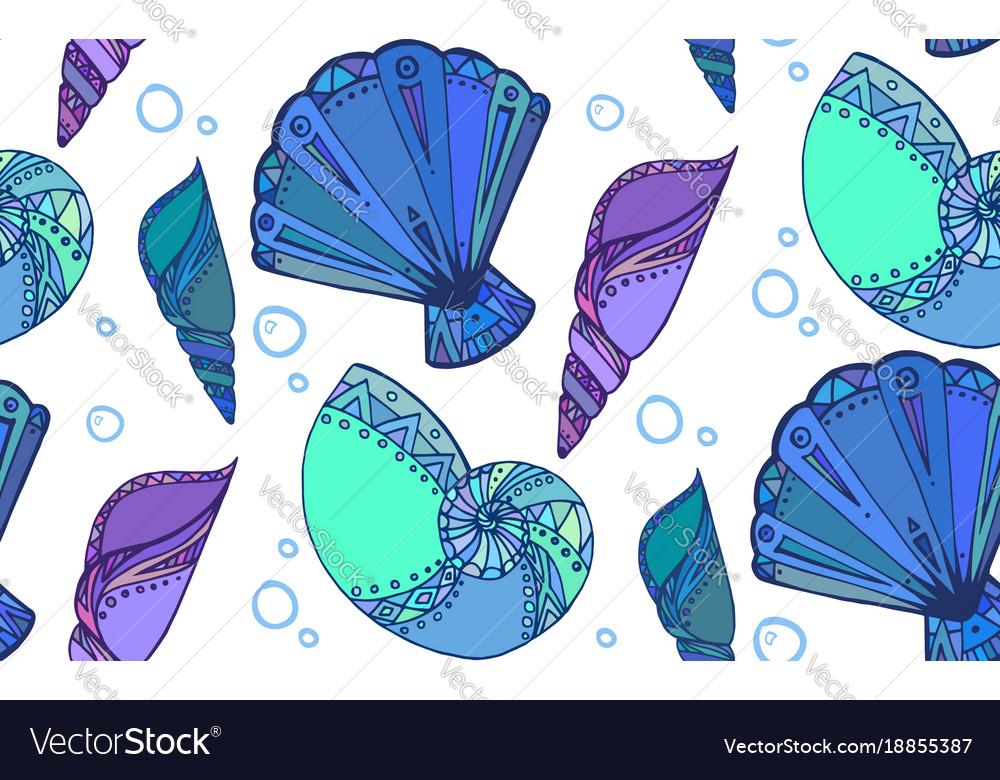 Seamless texture with doodle seashells boho