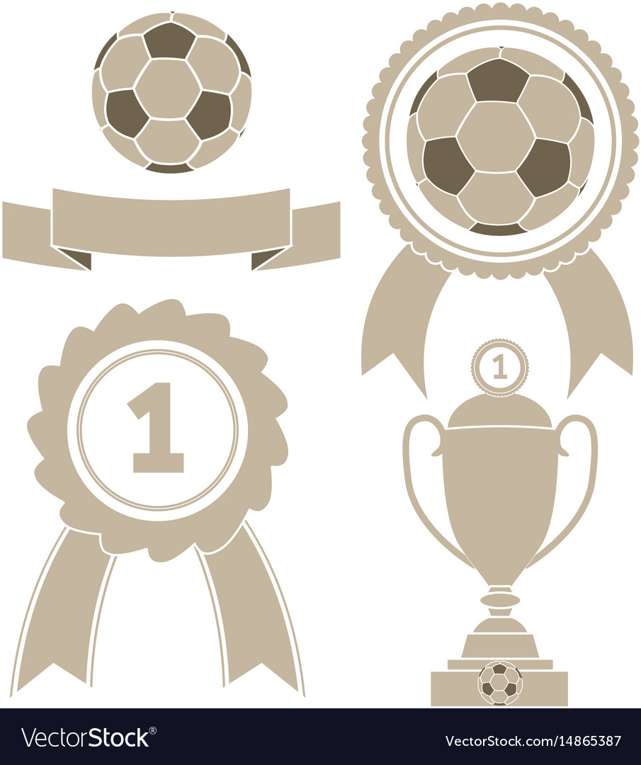 Soccer icon ball ribbon award cu