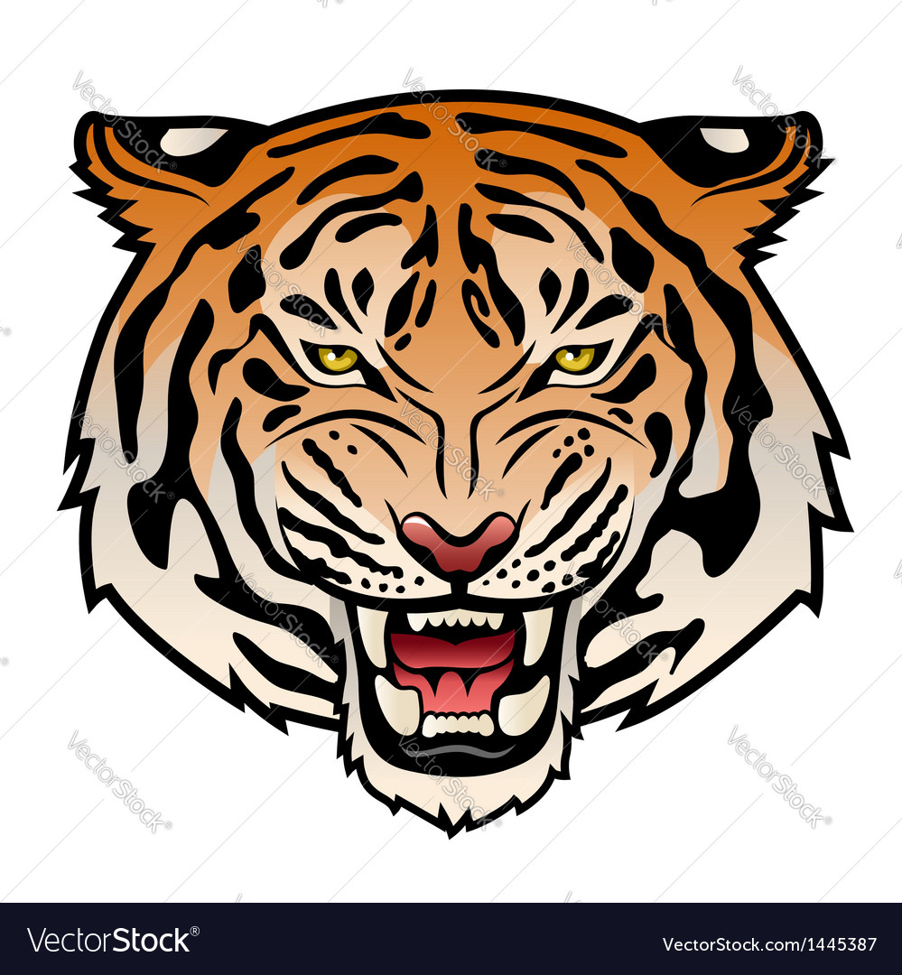 Tribal tiger color VS Royalty Free Vector Image