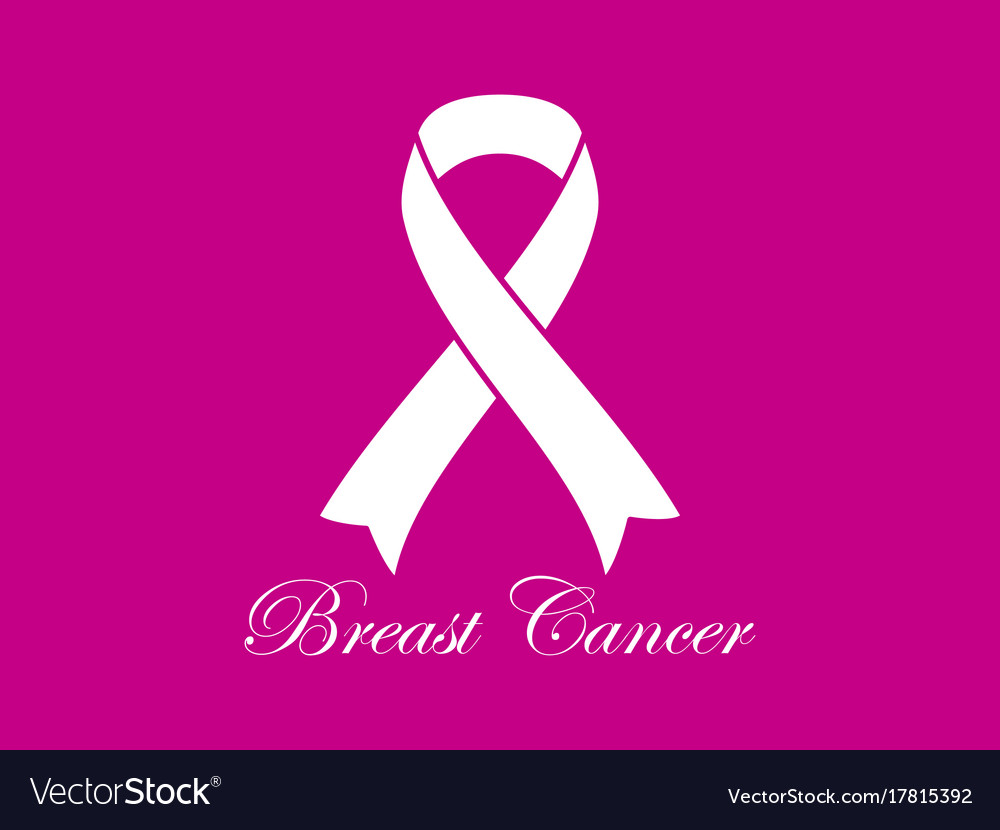 Breast cancer awareness white ribbon on pink