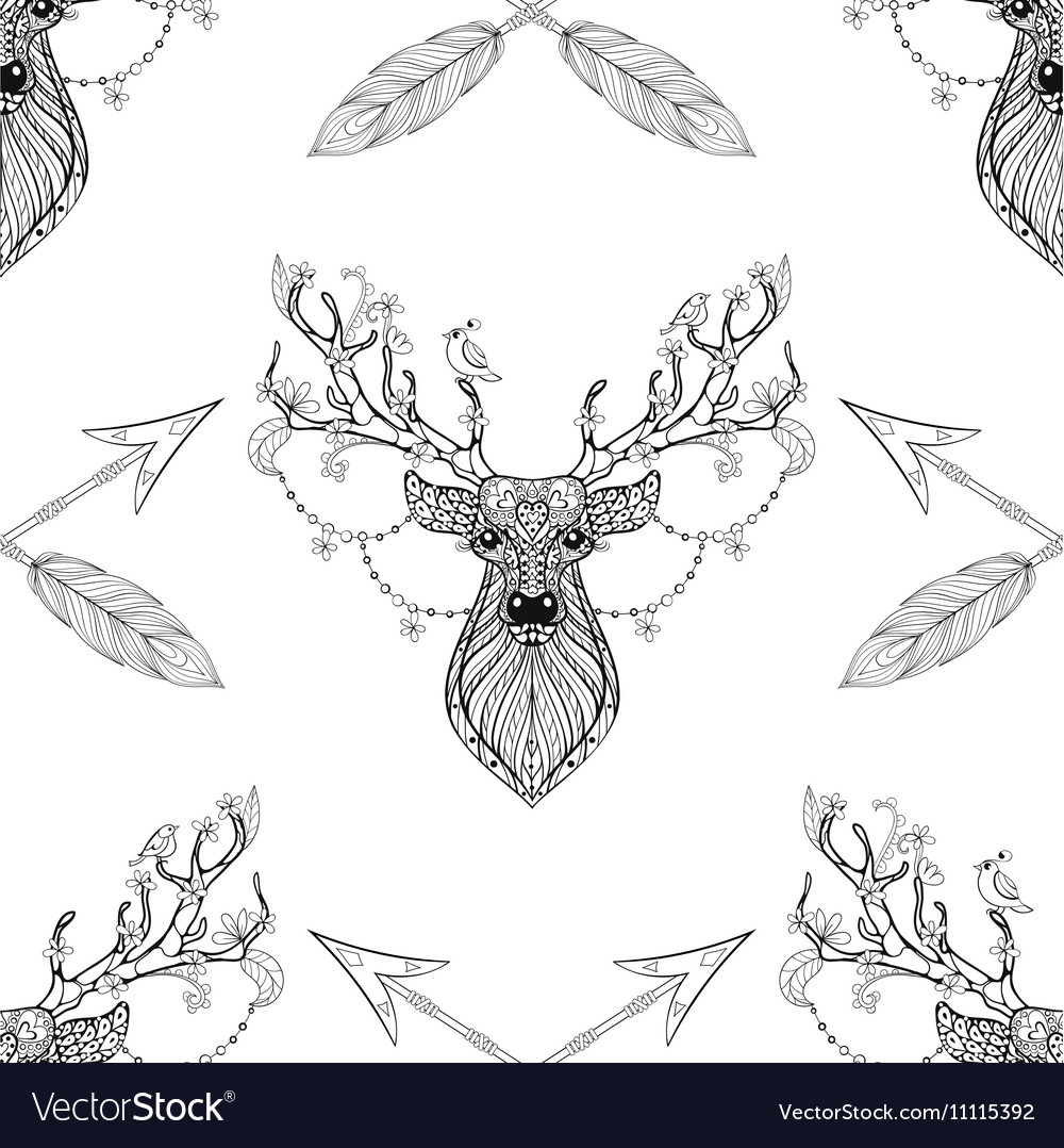 Magic deer with arrows seamless pattern in