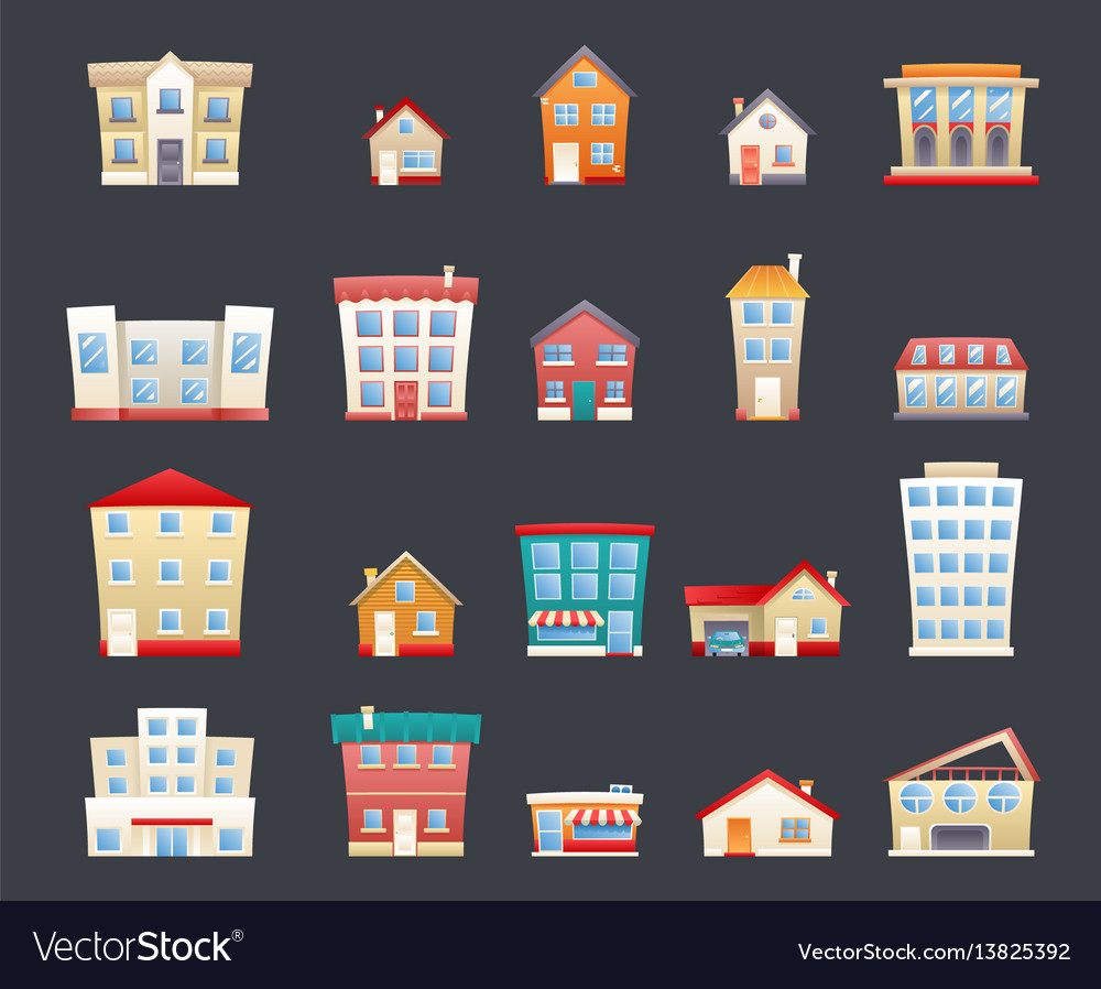 Modern trendy retro house street flat icons set