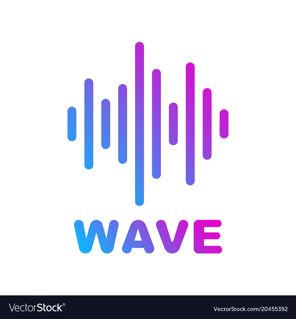 Sound and audio waves logotype of music and audio