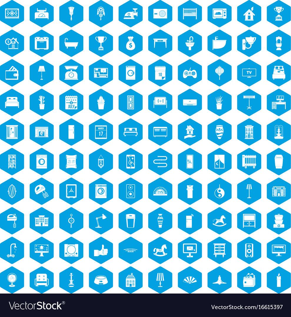 100 interior icons set blue vector image