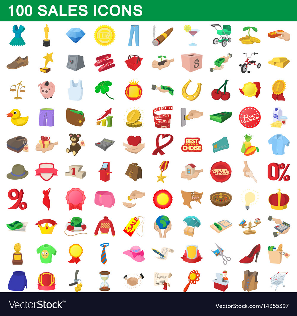 100 sales icons set cartoon style