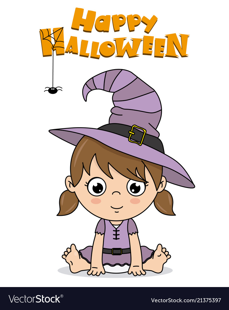 baby girl dressed up as a witch for halloween vector image