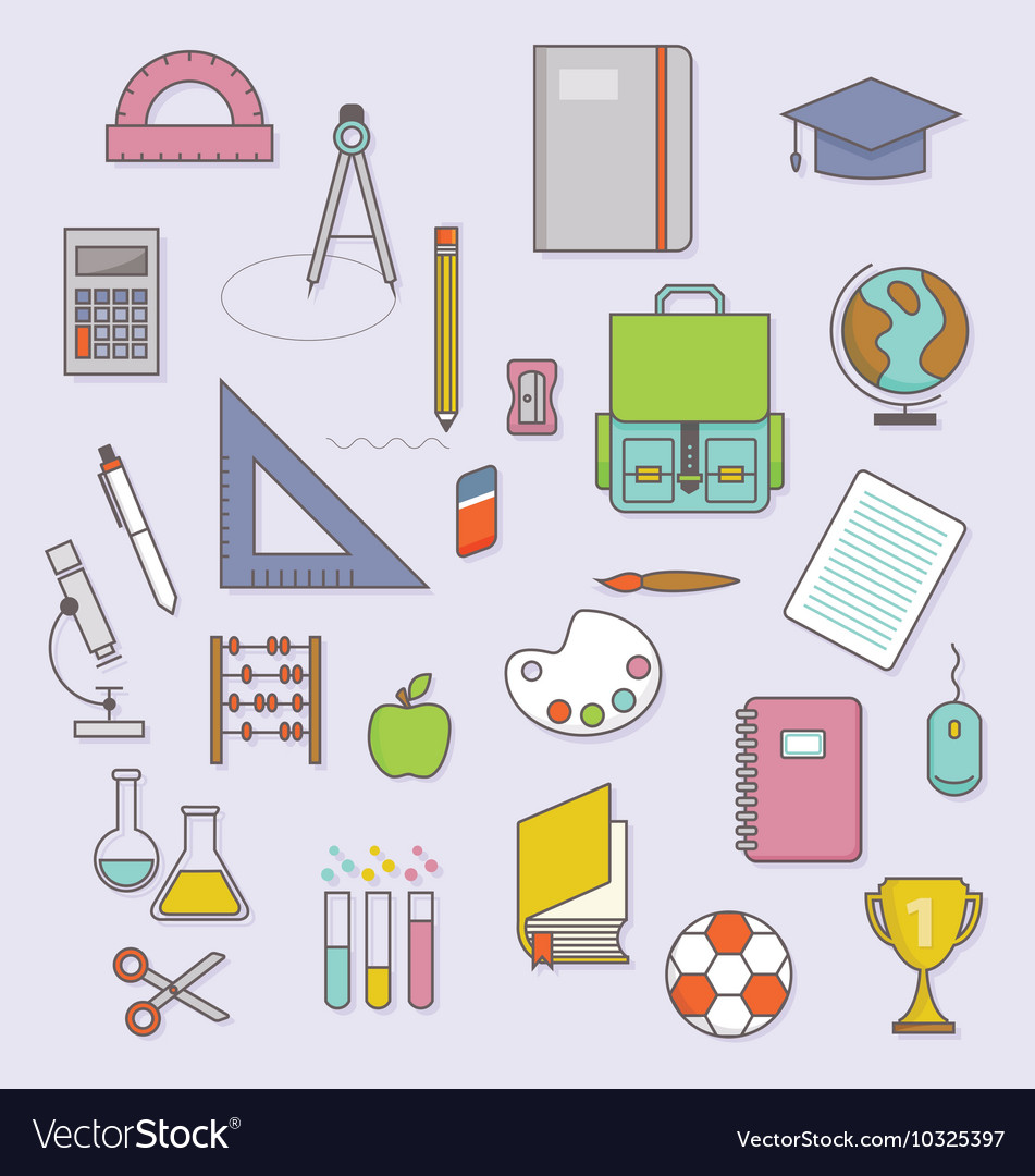 BACK TO SCHOOL FLAT ICONS COLLECTION