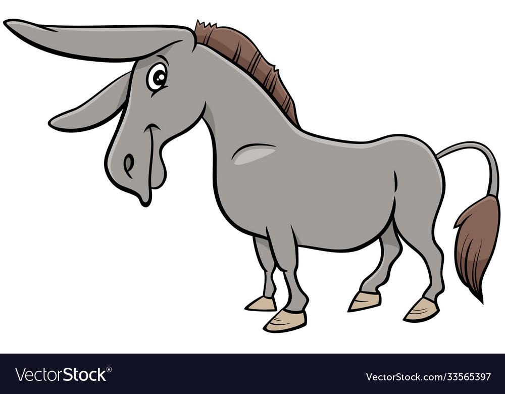 Cartoon donkey farm animal character