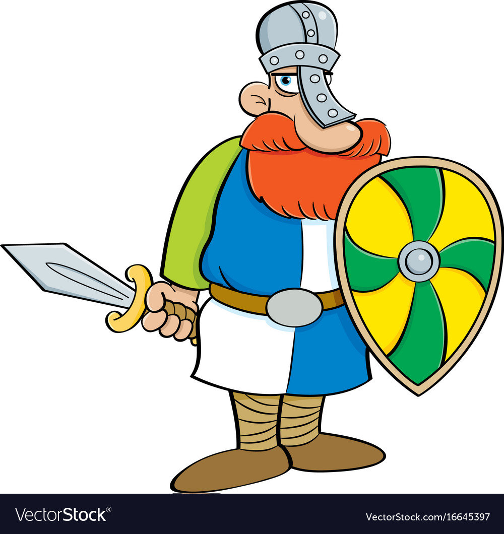 Cartoon medieval knight holding a shield and a swo