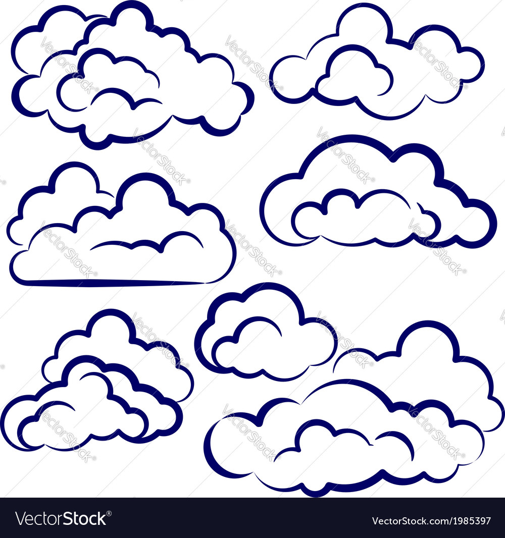 Clouds collection sketch cartoon vector image