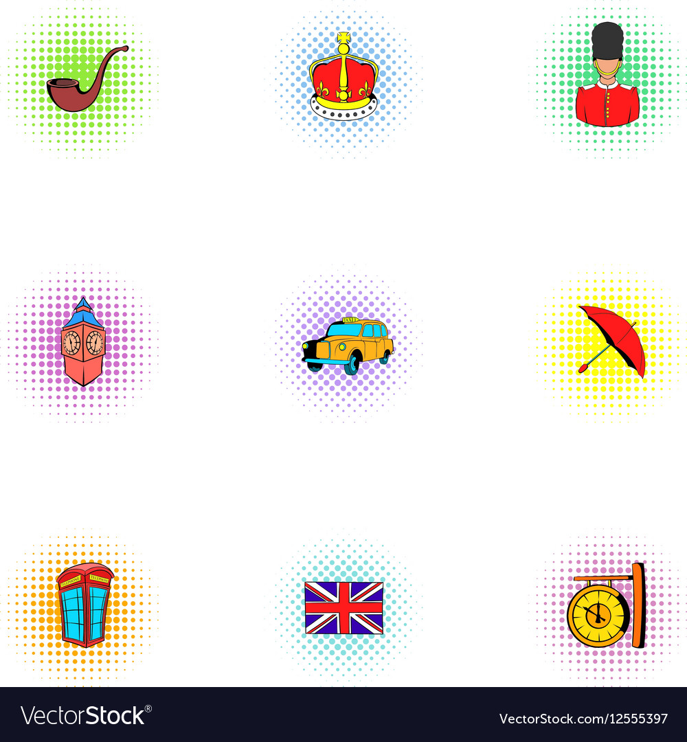 Country United Kingdom icons set pop-art style