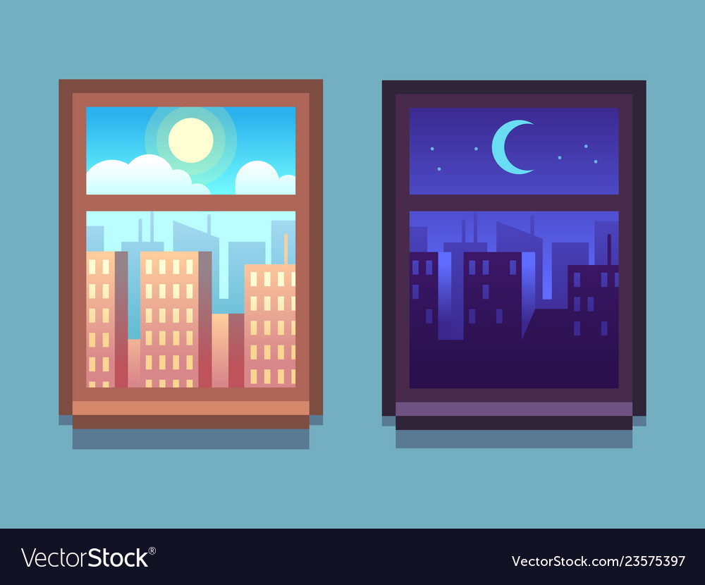 Day and night window cartoon skyscrapers at night