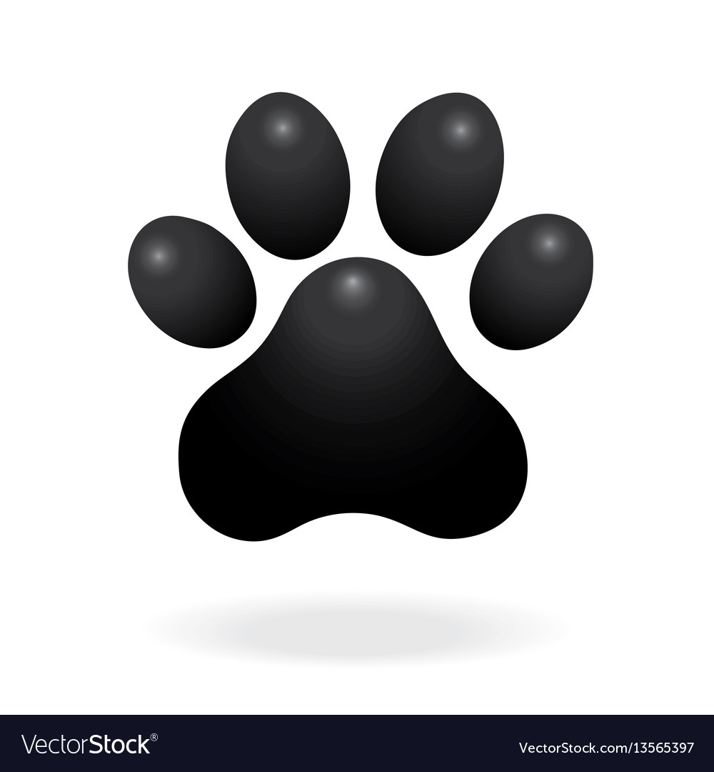 Dog or cat paw print flat icon for animal apps