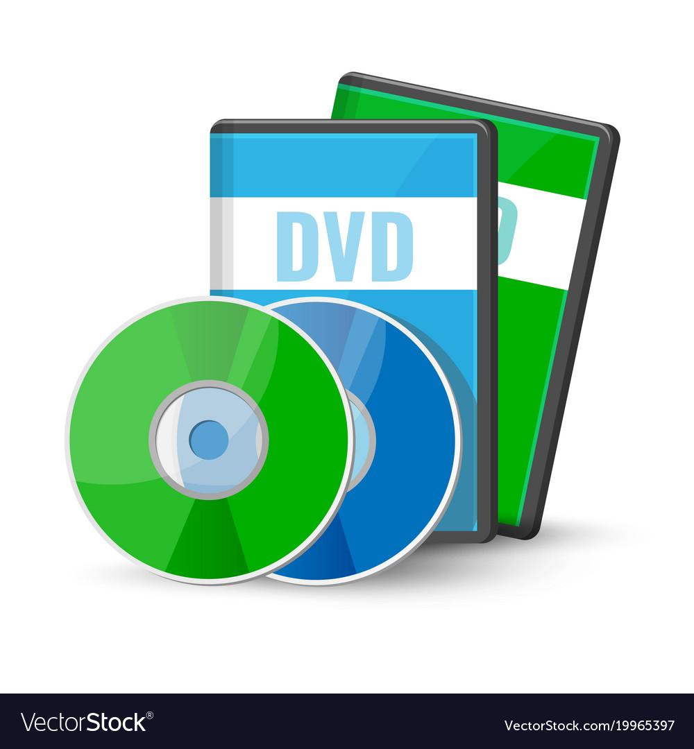 Dvd digital video discs cases for storage vector image