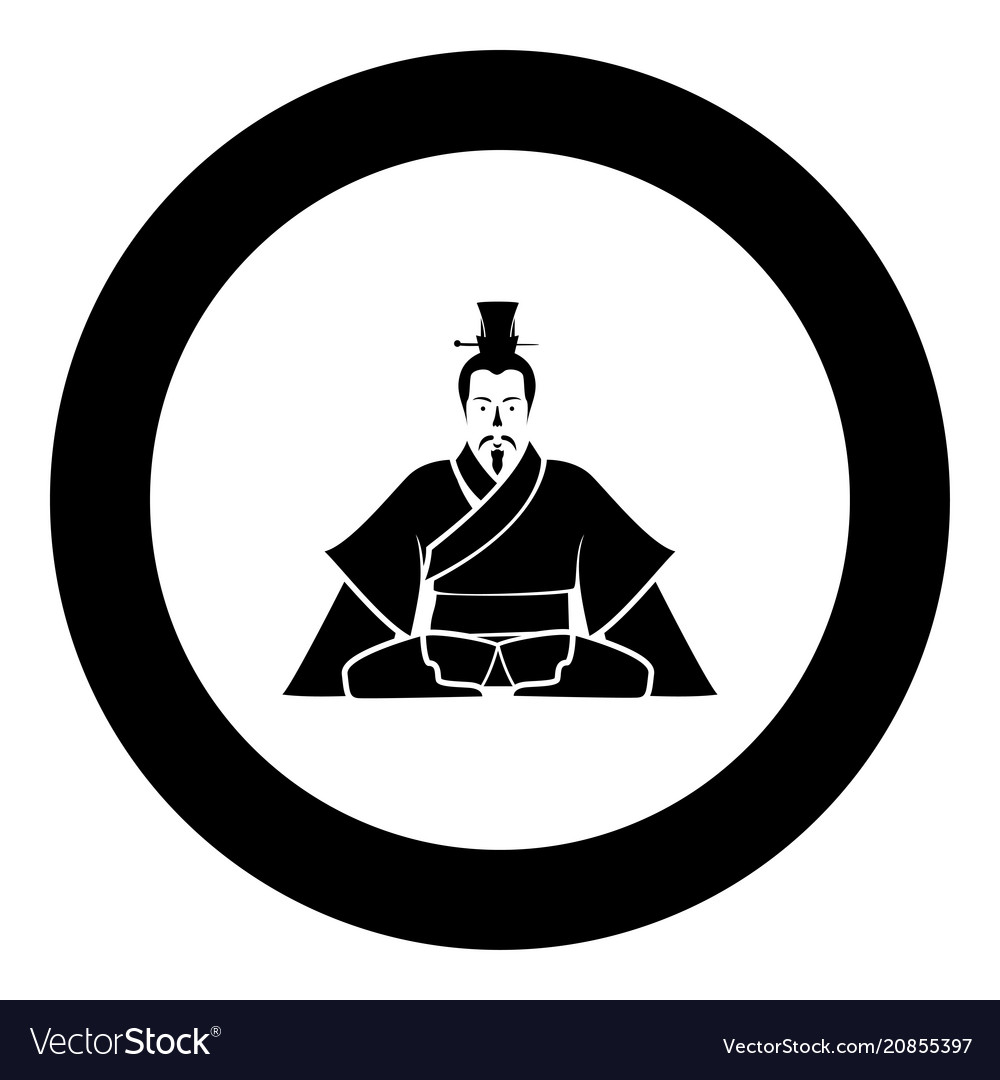 Emperor of china icon in round black color black