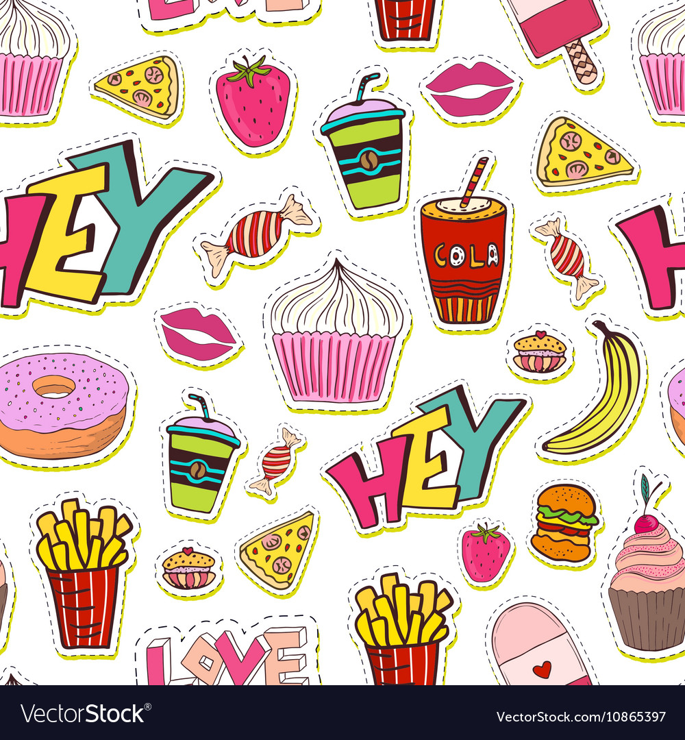 Fashion seamless pattern with patches Cartoon