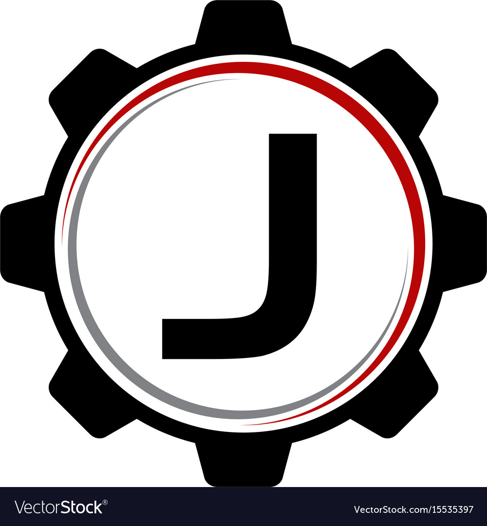 Gear solution logo letter j